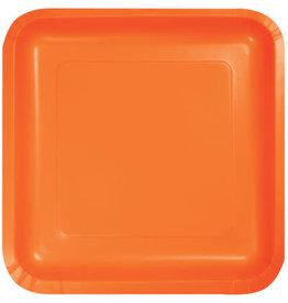 Touch of Color SUNKISSED ORANGE SQUARE DESSERT PLATES
