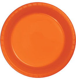 """Touch of Color Sunkissed Orange 7"""" Plastic Plates - 20ct."""