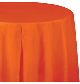 Touch of Color SUNKISSED ORANGE ROUND PLASTIC TABLECLOTH