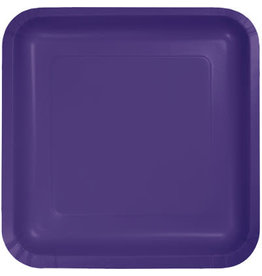 Touch of Color SQUARE PURPLE DINNER PAPER PLATES