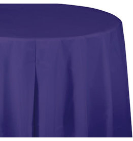 Touch of Color PURPLE ROUND PLASTIC TABLECLOTH