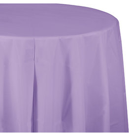 Touch of Color LUSCIOUS LAVENDER PURPLE ROUND PLASTIC TABLECLOTH