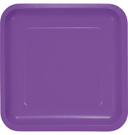 Touch of Color SQUARE AMETHYST PURPLE DINNER PAPER PLATES
