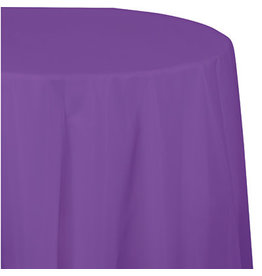 Touch of Color AMETHYST PURPLE ROUND PLASTIC TABLECLOTH
