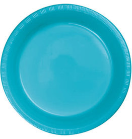 """Touch of Color Bermuda Blue 7"""" Plastic Plates - 20ct."""