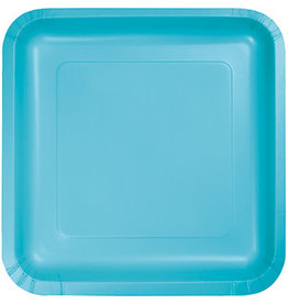 Touch of Color SQUARE BERMUDA BLUE DINNER PAPER PLATES