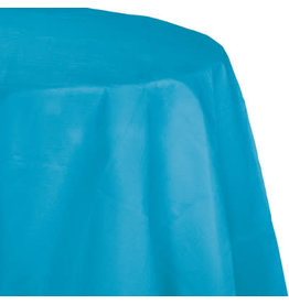 Touch of Color TURQUOISE BLUE OCTY ROUND PAPER TABLECLOTH