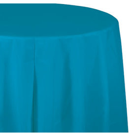 Touch of Color TURQUOISE BLUE ROUND PLASTIC TABLECLOTH