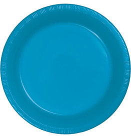 """Touch of Color Turquoise Blue 7"""" Plastic Plates - 20ct."""