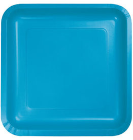 Touch of Color SQUARE TURQUOISE BLUE DINNER PAPER PLATES