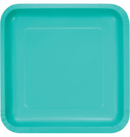 Touch of Color SQUARE TEAL LAGOON DINNER PAPER PLATES