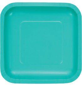 Touch of Color TEAL LAGOON SQUARE DESSERT PLATES