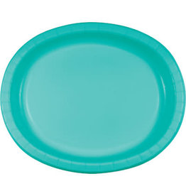 """Touch of Color Teal 10"""" x 12"""" Oval Platters - 8ct."""