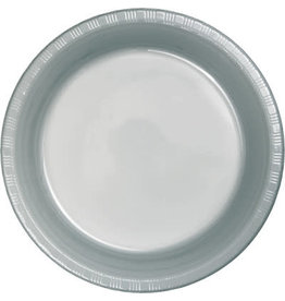 """Touch of Color Shimmering Silver 7"""" Plastic Plates - 20ct."""