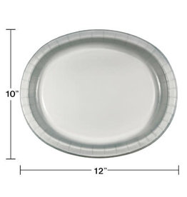 Touch of Color Shimmering Silver Oval Paper Plates - 8ct.