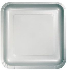 Touch of Color SQUARE SHIMMERING SILVER DINNER PAPER PLATES