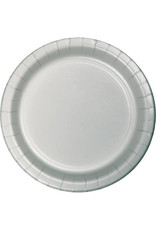 """Touch of Color 10"""" Shimmering Silver Paper Banquet Plates - 24ct."""