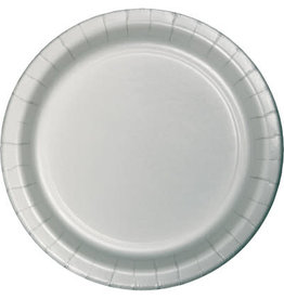 "Touch of Color 10"" Shimmering Silver Paper Banquet Plate"