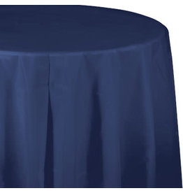 Touch of Color NAVY BLUE ROUND PLASTIC TABLECLOTH