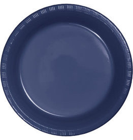 """Touch of Color Navy Blue 7"""" Plastic Plates - 20ct."""