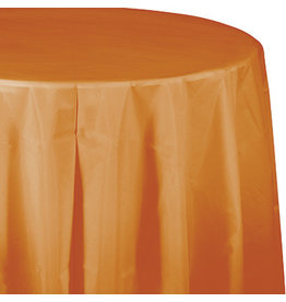 Touch of Color PUMPKIN SPICE ORANGE ROUND PLASTIC TABLECLOTH