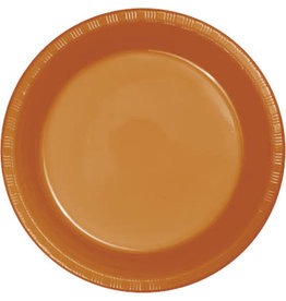 Touch of Color PUMPKIN SPICE ORANGE PLASTIC BANQUET PLATES