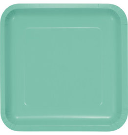 Touch of Color SQUARE FRESH MINT GREEN DINNER PAPER PLATES