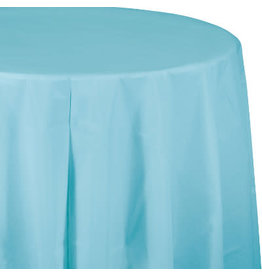 Touch of Color PASTEL BLUE ROUND PLASTIC TABLECLOTH