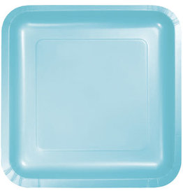 Touch of Color SQUARE PASTEL BLUE DINNER PAPER PLATES