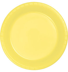 """Touch of Color Mimosa Yellow 7"""" Plastic Plates - 20ct."""