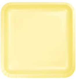 Touch of Color SQUARE MIMOSA YELLOW DINNER PAPER PLATES