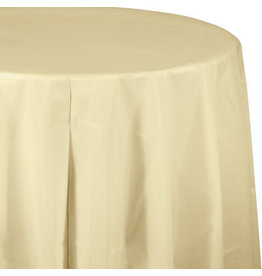 Touch of Color IVORY ROUND PLASTIC TABLECLOTH