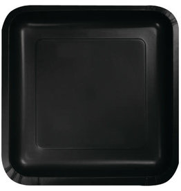 Touch of Color SQUARE BLACK DINNER PAPER PLATES