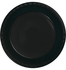 "Touch of Color Black Velvet 7"" Plastic Plates - 20ct."