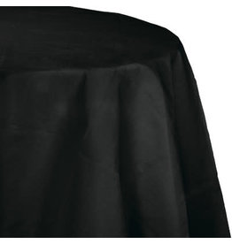 """Touch of Color 82"""" Black Plastic Lined Tablecover - Round"""