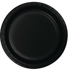 """Touch of Color Black 7"""" Paper Plates - 24ct."""