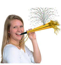 Beistle Gold Confetti Horn w/ Beads