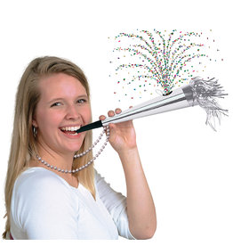 Beistle Silver Confetti Horn w/ Beads