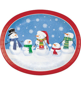 creative converting Smiling Snowmen Dinner Plates Platters - 8ct.