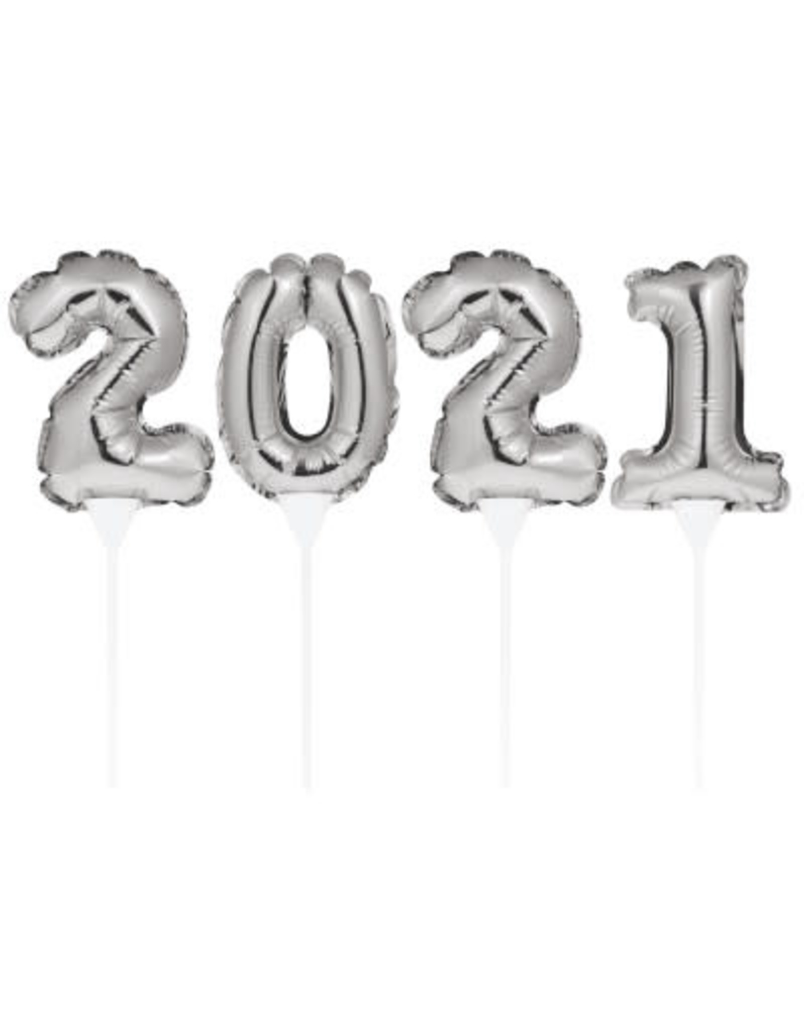 creative converting 2021 Silver Self-Inflating Cake Topper