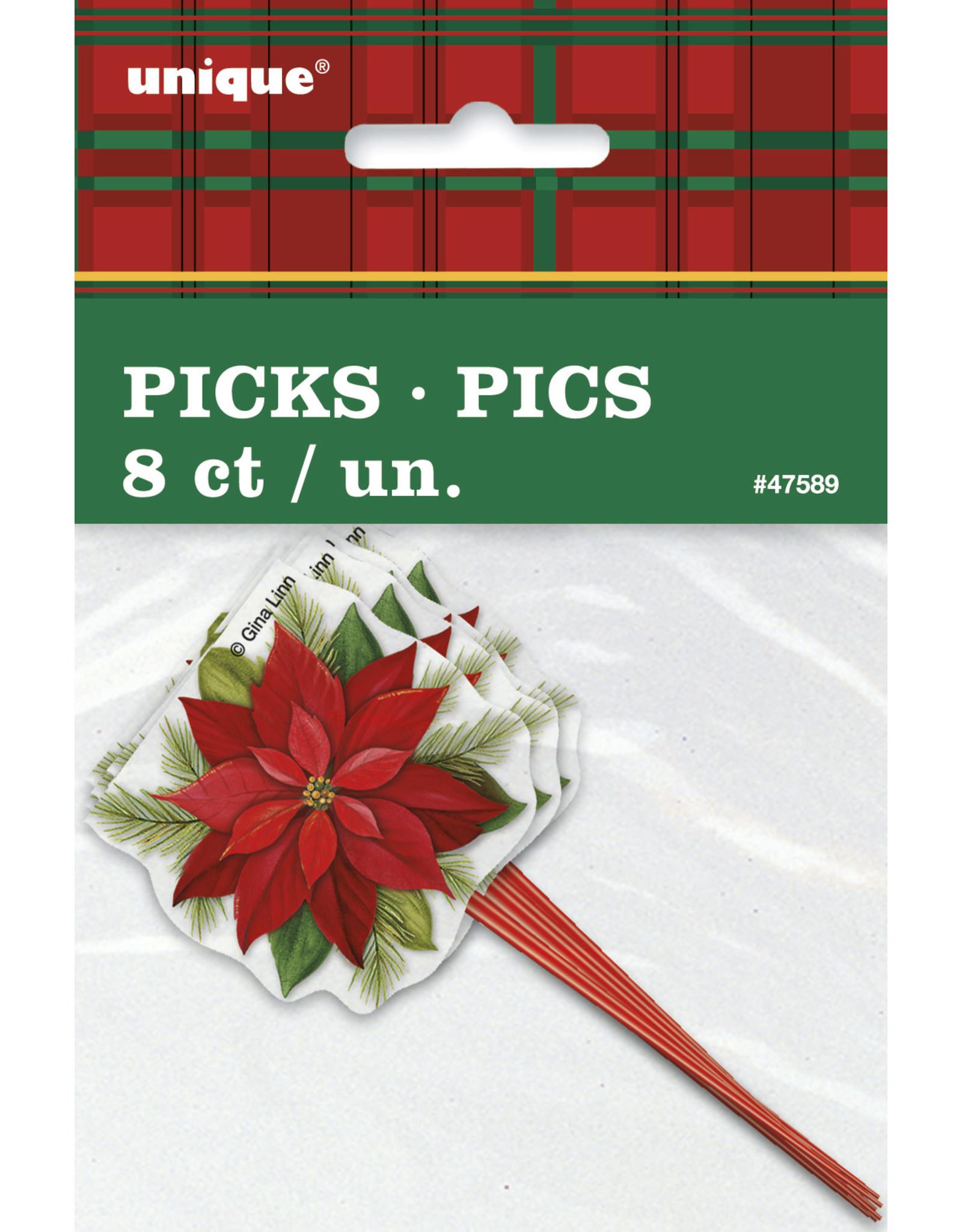 unique 8ct. Poinsetta Picks