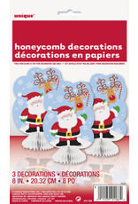 unique 3pk. Santa Honeycomb Decorations