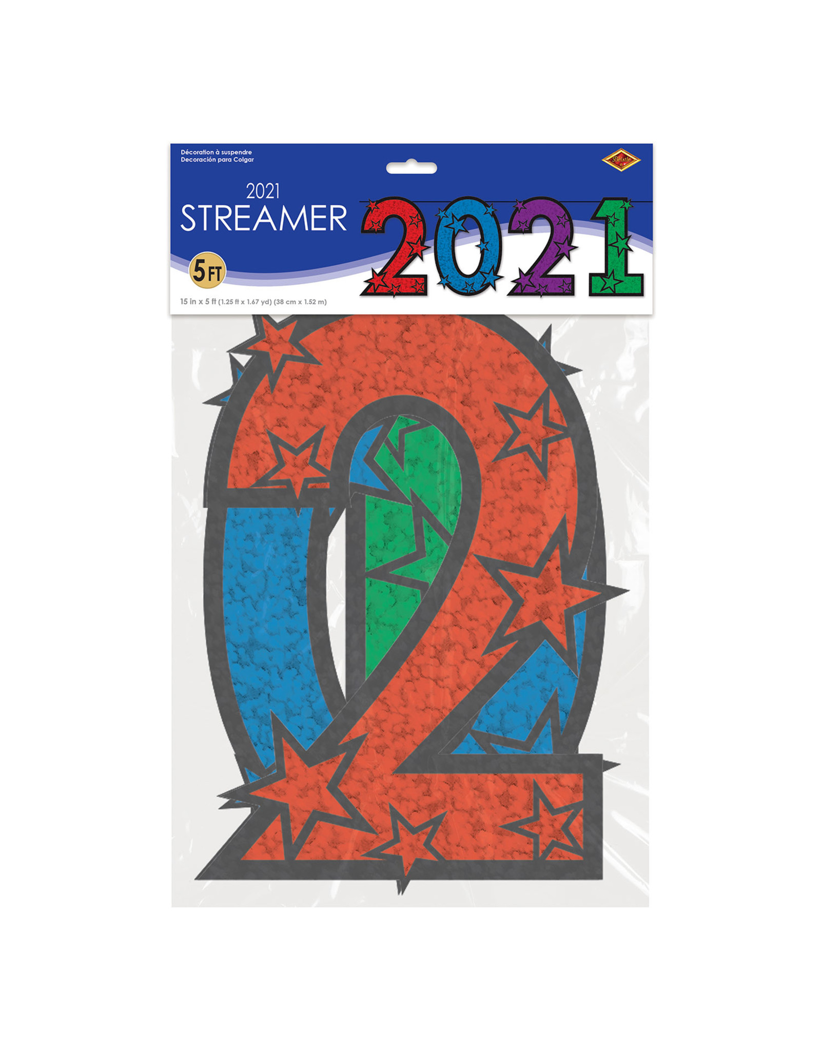 Beistle 2021 Banner w/ Stars - 5ft.