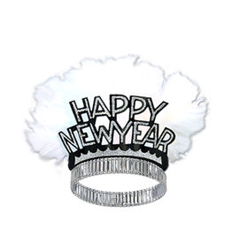 Beistle Silver Happy New Year Feathered Tiara - 1ct.