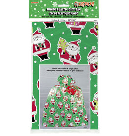 unique Jumbo Santa Plastic Gift Bag - 1ct.