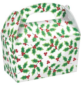 Lrg. Holly Cardboard Treat Boxes - 5ct.