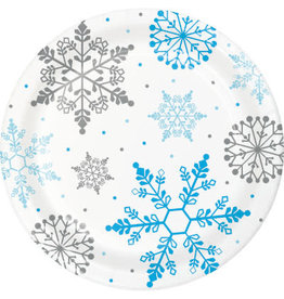 "Party Creations Winter Snowflake 9"" Plates - 8ct."