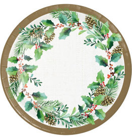 "creative converting Golden Holly Dessert Plates 7"" - 8ct."