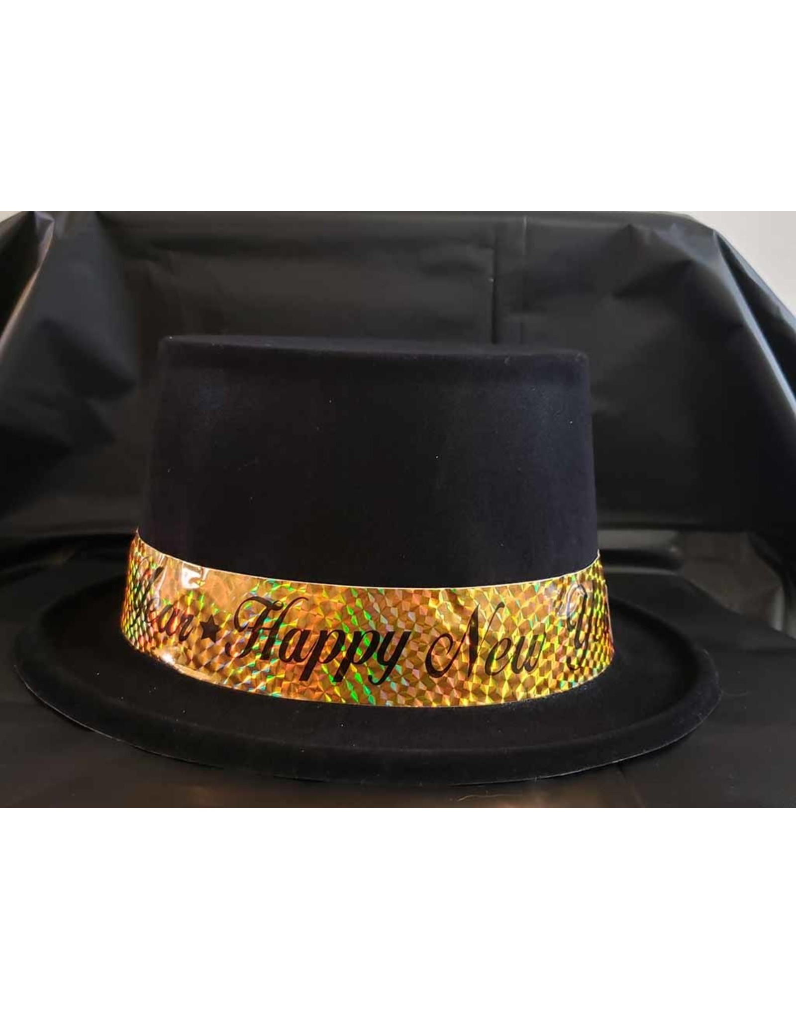 everbright Black Felt New Year Top Hat w/ Gold Band
