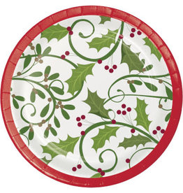 "creative converting Holiday Holly 7"" Plates - 8ct."